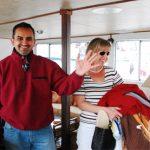 couple posing below deck